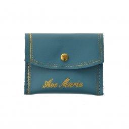 """Copertina di 'Portarosario rettangolare in pelle con bottoncino e scritta dorata """"Ave Maria"""" - colore azzurro'"""
