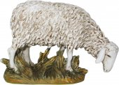 Pecora testa bassa in resina dipinta cm 16