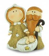 Natività in resina colorata, decorazione natalizia/soprammobile, piccolo presepe con Sacra Famiglia, 8 x 10 cm