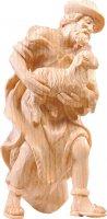Pastore con pecora R.K. - Demetz - Deur - Statua in legno dipinta a mano. Altezza pari a 15 cm.
