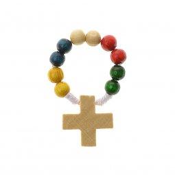 Copertina di 'Decina rosario missionario in legno - grani tondi 7 mm'