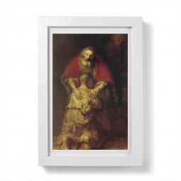 """Copertina di 'Quadretto """"Il figliol prodigo"""" con passe-partout e cornice minimal - dimensioni 15x10 cm'"""