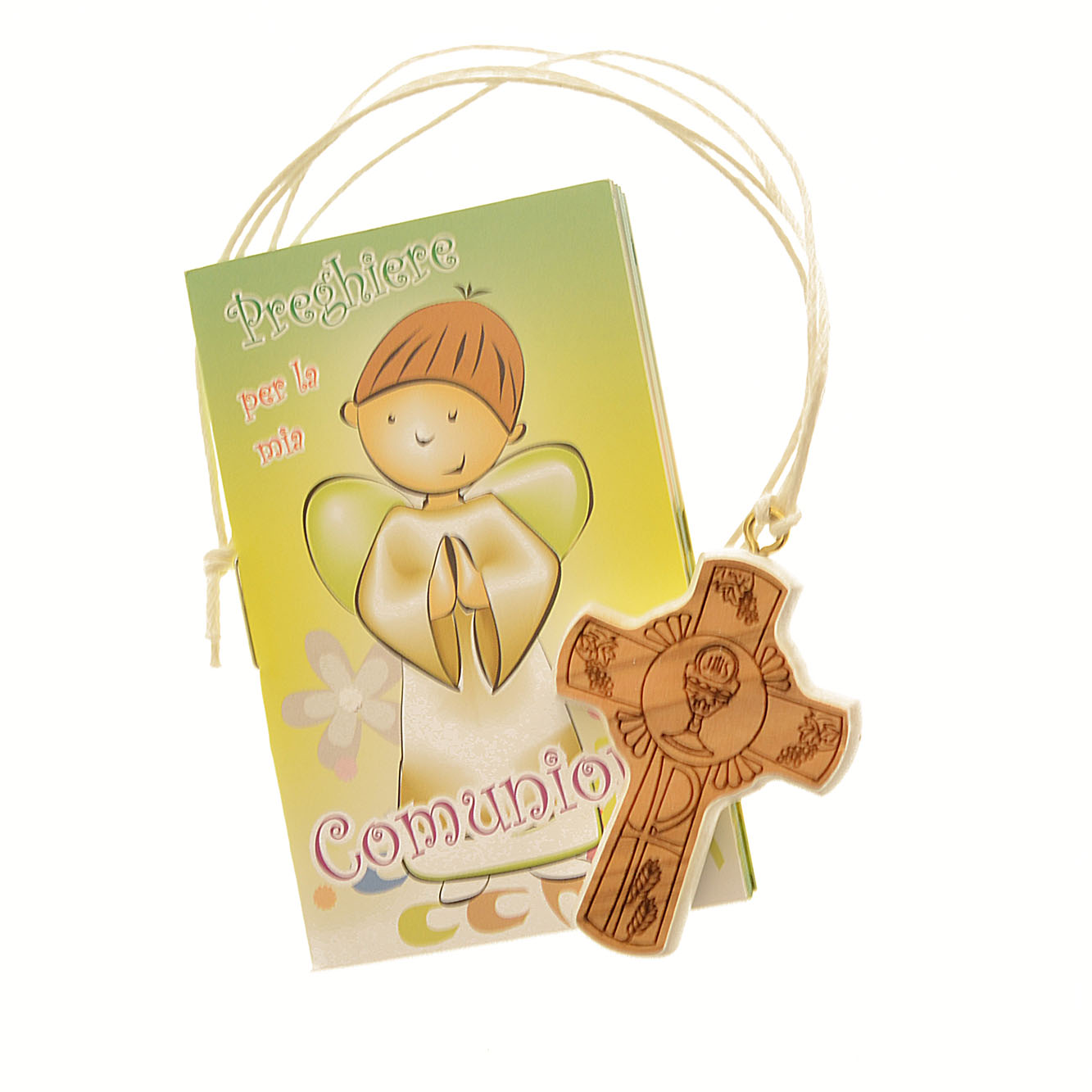 Famoso Croce in legno 'Prima Comunione' con libricino di preghiere, in  FH13