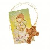 """Croce in legno """"Prima Comunione"""" con libricino di preghiere"""