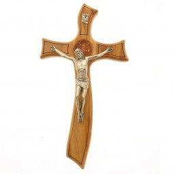 Copertina di 'Croce di San Benedetto in legno d'ulivo e stile moderno - dimensioni 26,5x14 cm'