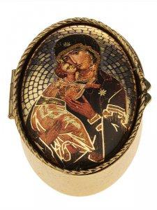 """Copertina di 'Portarosario ovale in metallo """"Madonna di Vladimir"""" - dimensioni 6x4 cm'"""