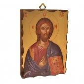 """Icona in legno massello """"Cristo pantocratore"""" - altezza 14 cm"""