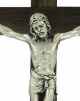 Immagine di 'Crocifisso da parete in legno di noce con Cristo in metallo - 30 cm'