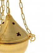 Immagine di 'Turibolo in ottone dorato 24 carati decorato con colombe - altezza 11 cm'