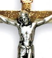 Immagine di 'Croce in metallo dorato con Cristo argentato - 8,5 cm'