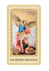 """Copertina di 'Immaginetta plastificata con preghiera """"San Michele Arcangelo"""" - dimensioni 6x10 cm'"""