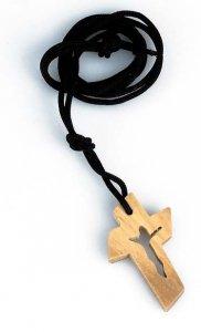 Copertina di 'Croce in legno d'ulivo con crocifisso traforato e laccio - altezza 3,5 cm'