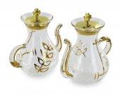 Immagine di 'Ampolline con vassoio in vetro con beccuccio e decoro dorato - 100 cc'