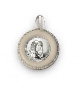 """Copertina di 'Sopraculla bianco in pelle e bilaminato d'argento """"Madonnina"""" del Ferruzzi - diametro 8,5 cm'"""