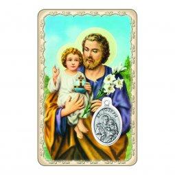"""Copertina di 'Card """"San Giuseppe e Bambinello"""" con preghiera e medaglia - (10 pezzi)'"""
