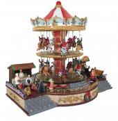 Immagine di 'Villaggio natalizio con giostra su due piani, movimento, luci, musica (38 x 33 x 28 cm)'