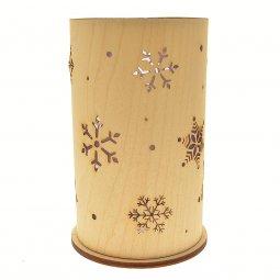 Copertina di 'Portacandela in legno con fiocchi di neve - altezza 14 cm'