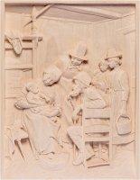 Visita dei nonni - Demetz - Deur - Statua in legno dipinta a mano. Altezza pari a 30 cm.