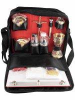 Valigia per celebrazioni in rafia e pelle con cerniera e tracolla 19 oggetti - dimensioni 12x26