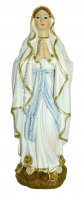 Statua della Madonna di Lourdes da 12 cm in confezione regalo con segnalibro in IT/EN/ES/FR