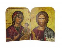 Copertina di 'Dittico stile icona, Cristo Pantocratore e Madonna con bambino, produzione greca in legno - 20,5 x 14 cm'