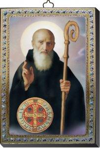 Copertina di 'Tavola San Benedetto stampa su legno - 10 x 14 cm'