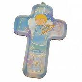 """Croce azzurra """"Angioletto per il Battesimo"""" - altezza 13 cm"""