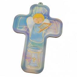 """Copertina di 'Croce azzurra """"Angioletto per il Battesimo"""" - altezza 13 cm'"""