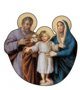Copertina di 'Immagine della Sacra Famiglia sagomata su legno mdf con appoggio - 7,3 x 7,3 cm'