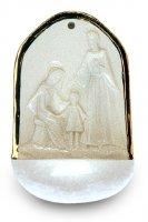 Acquasantiera Sacra Famiglia in porcellana con profilo in oro zecchino cm 12