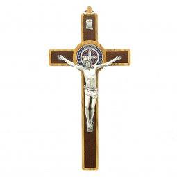 Copertina di 'Croce di San Benedetto in legno d'ulivo e metallo - altezza 19 cm'