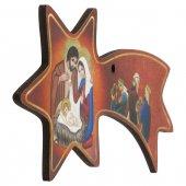 Immagine di 'Cometa rossa in legno da appendere con Natività e Re Magi - dimensioni 6x12 cm'