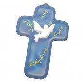 Croce cresima blu con colomba bianca (9x13)