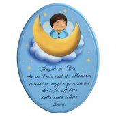 """Icona ovale azzurra """"Angelo di Dio"""" per bambini - dimensioni 15x21 cm"""