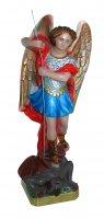 Statua San Michele in gesso madreperlato dipinta a mano - 20 cm