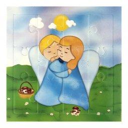 """Copertina di 'Mini puzzle """"Angioletti abbracciati"""" per bambini - 12 pezzi'"""