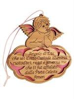 """Angioletto in legno d'ulivo """"Angelo di Dio"""" su sfondo rosa - dimensioni 8x8 cm"""