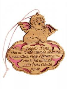 """Copertina di 'Angioletto in legno d'ulivo """"Angelo di Dio"""" su sfondo rosa - dimensioni 8x8 cm'"""