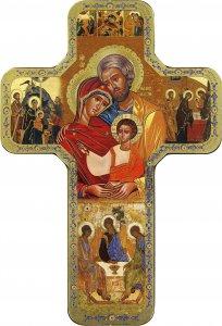 Copertina di 'Croce icona Sacra Famiglia stampa su legno - 12 x 18 cm'