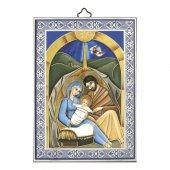 """Icona con cornice azzurra """"Natività"""" - 14 x 10 cm"""