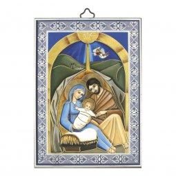 """Copertina di 'Icona con cornice azzurra """"Natività"""" - dimensioni 14x10 cm'"""