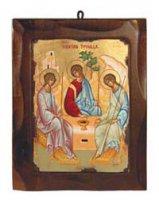 """Icona in legno dipinta a mano """"Trinità di Rublev"""" - dimensioni 23,5x18,5 cm"""