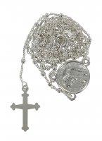 Rosario San Pio in argento 925 con grani tondi da Ø 1,5 mm su catena con moschettone