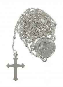 Copertina di 'Rosario San Pio in argento 925 con grani tondi da Ø 1,5 mm su catena con moschettone'
