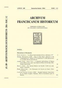 Archivum Franciscanum Historicum n. 2016/1-2