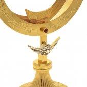 Immagine di 'Ostensorio dorato con angelo argentato e strass rossi - altezza 28 cm'