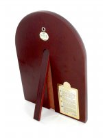 Immagine di 'Icona Cristo con libro aperto Greca a forma di arco in argento con dettagli in oro e cristalli - 20 x 15 cm'