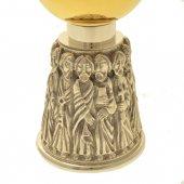 Immagine di 'Calice argentato con base scultorea degli apostoli - altezza 19 cm'