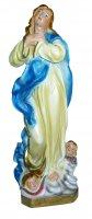 Statua Madonna del Murillo in gesso madreperlato cm 20 (dipinta a mano)
