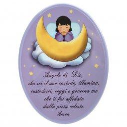 """Copertina di 'Icona ovale lilla """"Angelo di Dio"""" per bambini - dimensioni 15x21 cm'"""